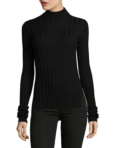 Theory Wide-Rib Mock Neck Sweater-BLACK-Large