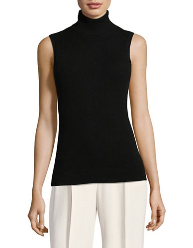 Theory Cashmere Sleeveless Turtleneck-BLACK-Small