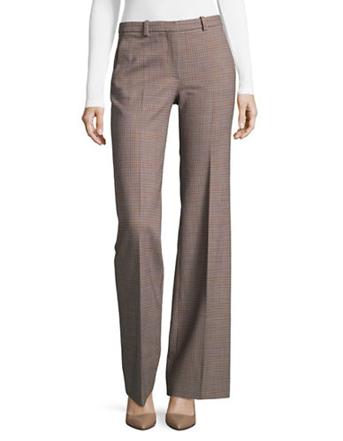 Theory Demitria Checked Virgin Wool Pantss-GREY-4
