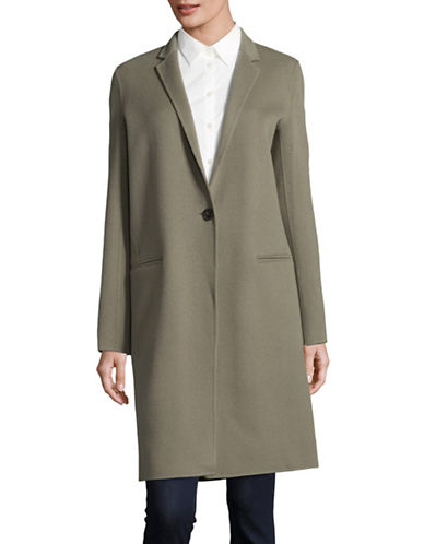 Theory Wool-Cashmere Coat-GREEN-X-Small