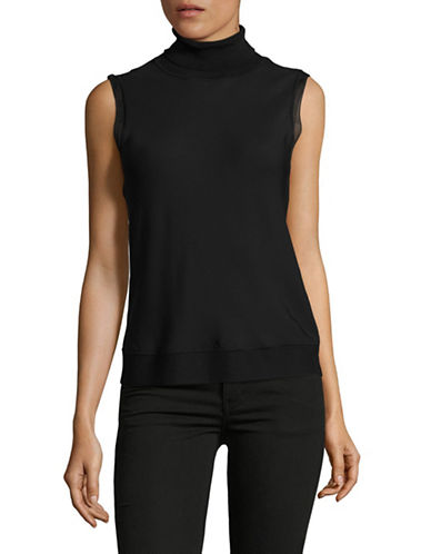 Theory Sleeveless Turtleneck Blouse-BLACK-Medium