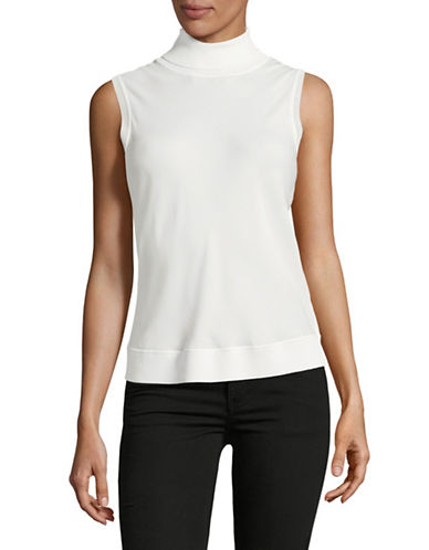 Theory Sleeveless Turtleneck Blouse-IVORY-Large