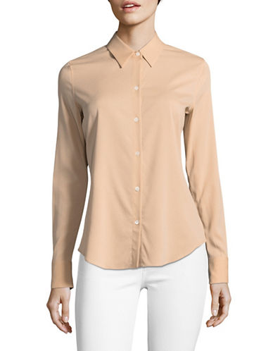 Theory Silk Combo Blouse-PINK NUDE-Medium