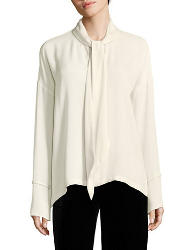 Theory Silk Self-Tie Blouse-IVORY-Large