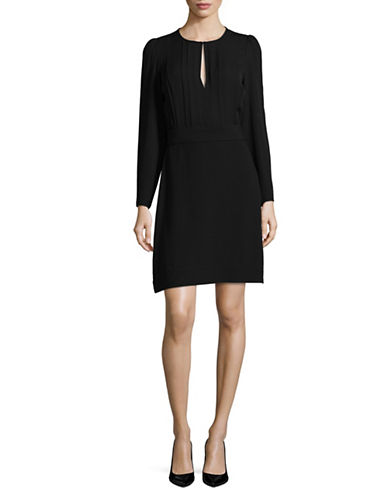 Theory Keyhole Long-Sleeve Shift Dress-BLACK-8