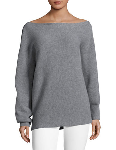 Theory One-Shoulder Sweater-GREY-X-Small