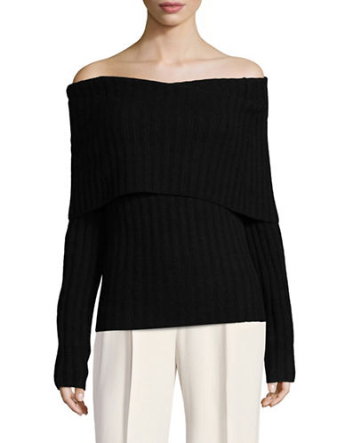 Theory Ribbed Foldover Cashmere Sweater-BLACK-X-Small