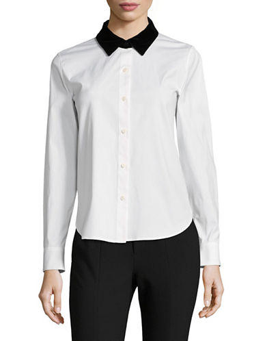 Theory Fancy Button-Down Shirt-WHITE-Large