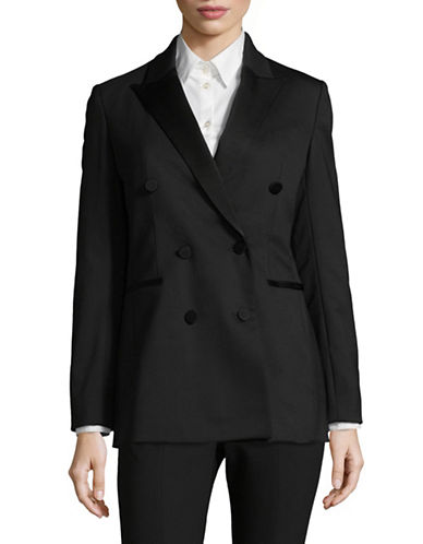 Theory Double-Breasted Wool Tuxedo Jacket-BLACK-2