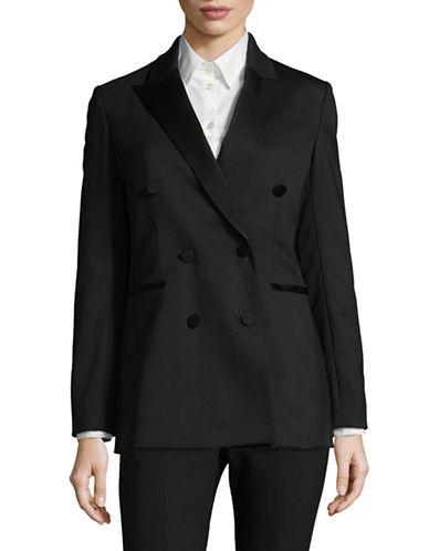 Theory Double-Breasted Wool Tuxedo Jacket-BLACK-0