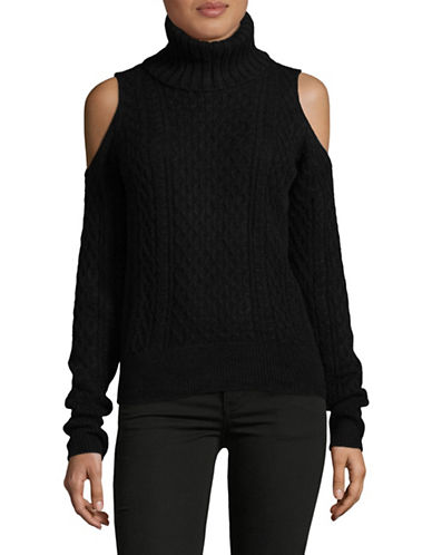Theory Turtleneck Cold-Shoulder Sweater-BLACK-Medium