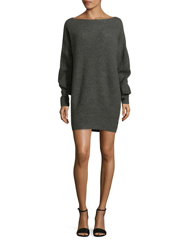 Theory Ribbed Sweater Dress-GREY-Large