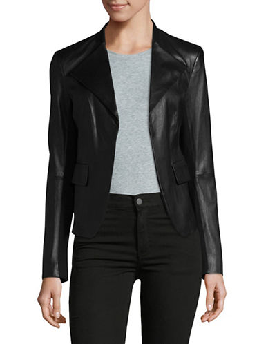 Theory Peplum Leather Jacket-BLACK-Large