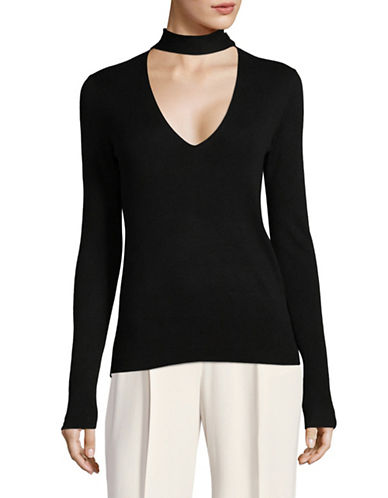 Theory Choker Neck Silk-Blend Pullover-BLACK-X-Small