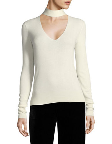 Theory Choker Neck Silk-Blend Pullover-IVORY-Large