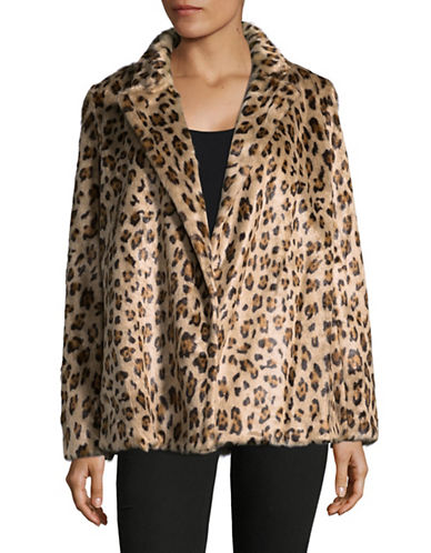 Theory Faux Fur Leopard Print Coat-MULTI-X-Small