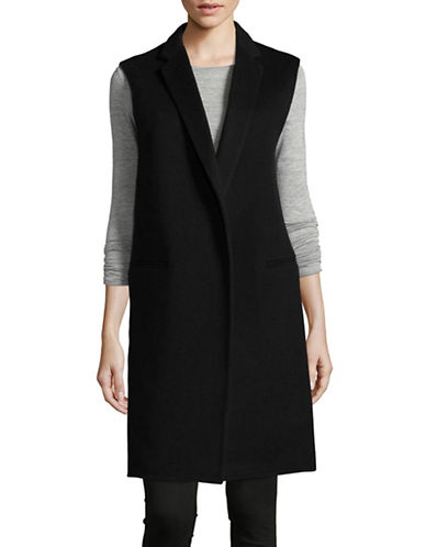 Theory Open Front Wool Blend Vest-BLACK-Large