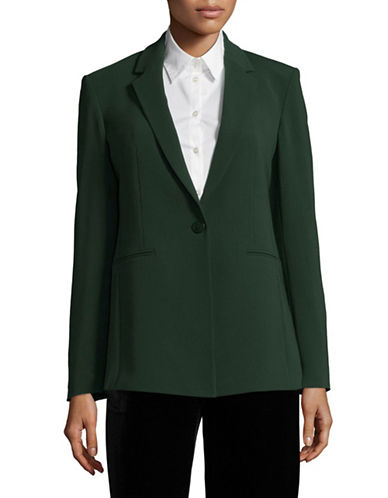 Theory Single-Button Power Blazer-GREEN-2