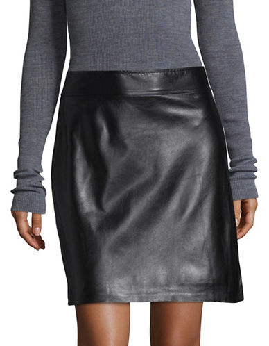 Theory High-Waist Leather Mini Skirt-BLACK-8