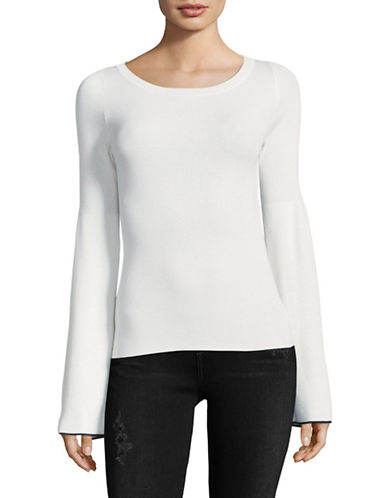 Theory Boat Neck Bell Sleeve Top-WHITE-X-Small