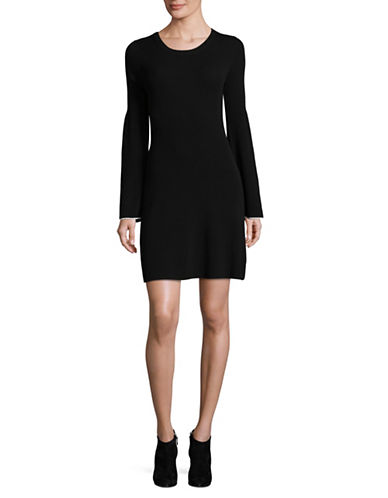 Theory Bell Sleeve Fit-and-Flare Sweater Dress-BLACK-Large