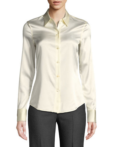 Theory Perfect Fitted Button-Down Shirt-IVORY-X-Small