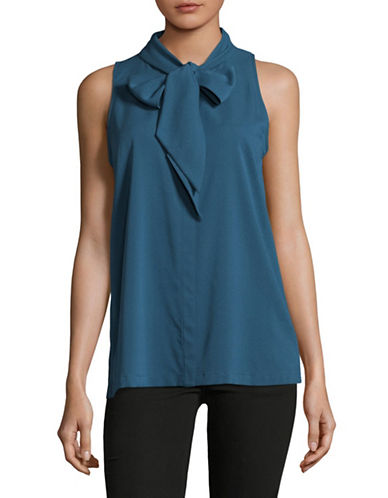 Theory Sleeveless Bow Neck Blouse-BLUE-X-Small