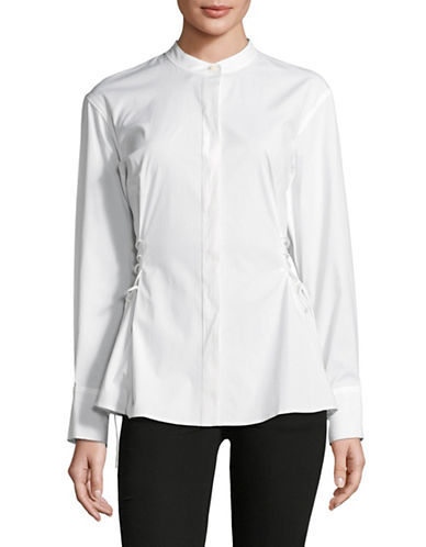 Theory Laced Cotton Button-Down Shirt-WHITE-Medium