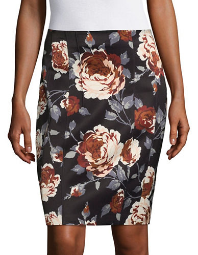 Theory Floral Pencil Skirt-BLACK-00