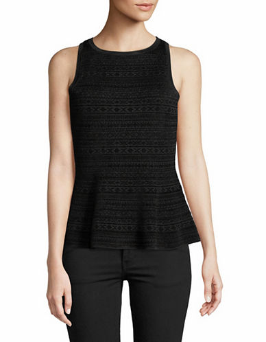 Theory Fair Isle Peplum Top-BLACK-X-Small