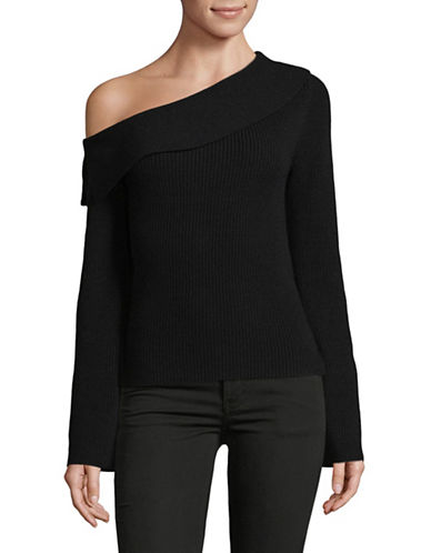 Theory One-Shoulder Merino Wool-Blend Sweater-BLACK-Small