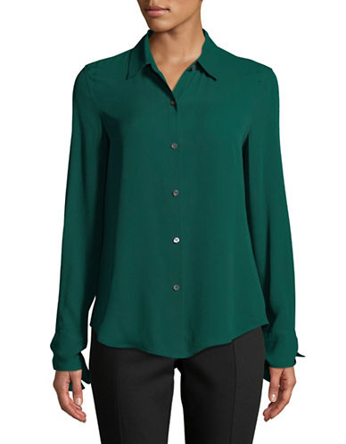 Theory Tie Cuff Silk Button-Down Shirt-BRIGHT HUNTER-Small