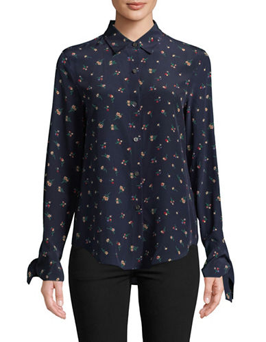 Theory Floral-Print Tie-Cuff Silk Blouse-NAVY-Large