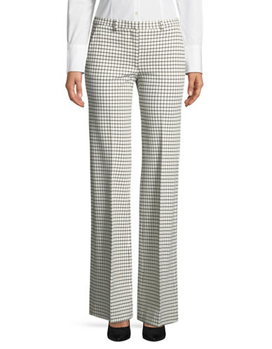 Theory Demitria Checkered Pants-IVORY/BLACK-00