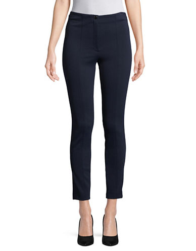 Theory Textured Cigarette Pants-NAVY-4