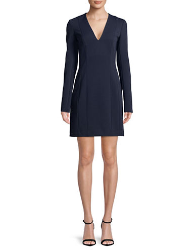 Theory V-Neck Long Sleeve Sheath Dress-DEEP NAVY-10