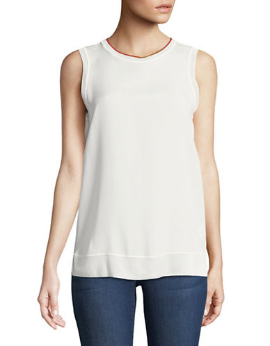 Theory Lewie Sleeveless Silk Top-IVORY-Large