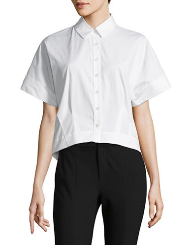 Theory Cropped Button-Down Shirt-WHITE-X-Small