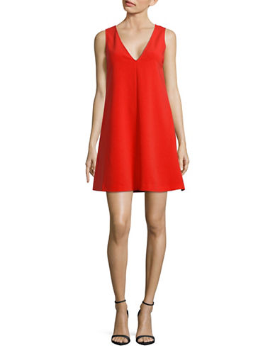 Theory V-Neck Admiral Crepe A-Line Dress-TOMATO-Large
