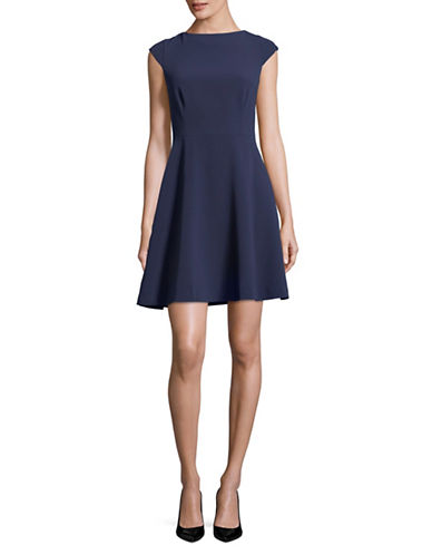 Theory Cap-Sleeve Fit-and-Flare Dress-NAVY-0