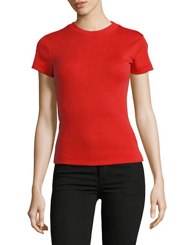 Theory Cotton-Blend Rib Tee-TOMATO-Large