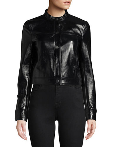 Theory Cropped Leather Jacket-BLACK-X-Small 89998731_BLACK_X-Small