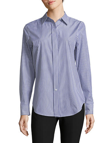 Theory Essential Cotton Button-Down Shirt-BLUE WHITE-Medium