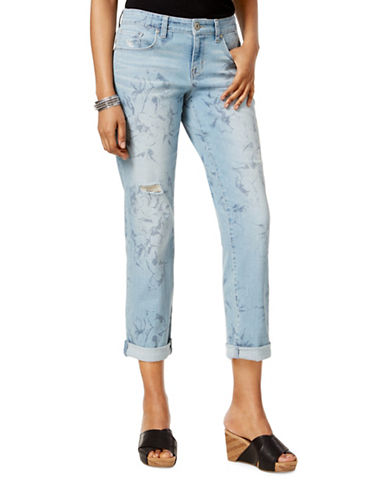 Style And Co. Printed Curvy Fit Boyfriend Jeans-BLUE-8