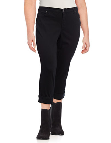 Style And Co. Plus Cuffed Denim Capris-BLACK-20W