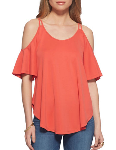 Jessica Simpson Carline Cold-Shoulder Top-CAYENNE-Small