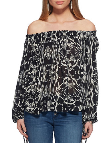 Jessica Simpson Ellita Off-the Shoulder Top-TRIBAL BLACK-X-Small