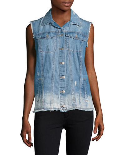 Jessica Simpson Superloved Denim Peri Vest-EVERYGLADE-X-Small