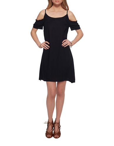 Jessica Simpson Amaris Cold-Shoulder Dress-BLACK-X-Small