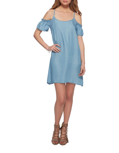 Jessica Simpson Amaris Cold-Shoulder Denim Dress-TARTUGA BLUE-Small